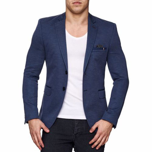 herren sakko kickdown slim fit blau einreiher blazer anzug. Black Bedroom Furniture Sets. Home Design Ideas